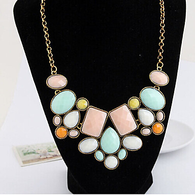 Women's Statement Necklace - Fashion Blue, Pink, Rainbow Necklace For Wedding, Party, Daily