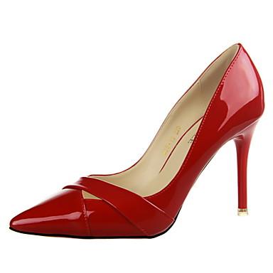 Sko-Kunstlær-Stiletthæl-Hæler / Spiss tå / Lukket tå-høye hæler-Formell-Svart / Rosa / Rød / Oransje / Burgunder