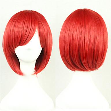 Synthetische Perücken / Perücken Glatt Asymmetrischer Haarschnitt Synthetische Haare Natürlicher Haaransatz Rot Perücke Damen Kurz Kappenlos Rot