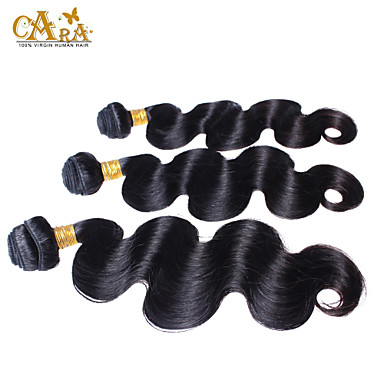 3pcs Lot  8-26 Inch Unprocessed Peruvian Virgin Hair Natural Black Color Body Wave Human Hair Weave