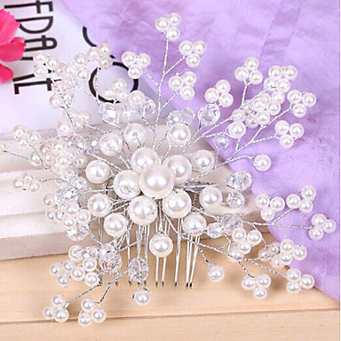 Pearl Crystal Fabric Alloy Tiaras Headbands Hair Combs Flowers Hair Pin Head Chain 1 Wedding Special Occasion Party / Evening Outdoor