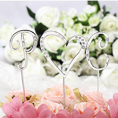 케이크 장식 클래식 테마 모노그램 크롬 결혼식 기념일 생일 처녀 파티 베이비 샤워 성인식 & 달콤한 열여섯 와 크리스탈 1 OPP