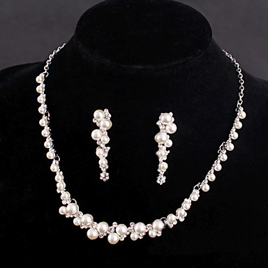 Women's Wedding Party Rhinestone Silver Plated Alloy Earrings Necklaces Bracelets & Bangles