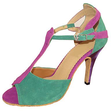 Men's / Women's Latin Shoes / Salsa Shoes / Standard Shoes Suede / Leatherette Sandal Customized Heel Customizable Dance Shoes Multi Color / Indoor