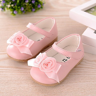 Girls' Shoes Leatherette Spring Summer Fall Flower Girl Shoes First Walkers Mary Jane Comfort Flats Bowknot for Casual White Pink