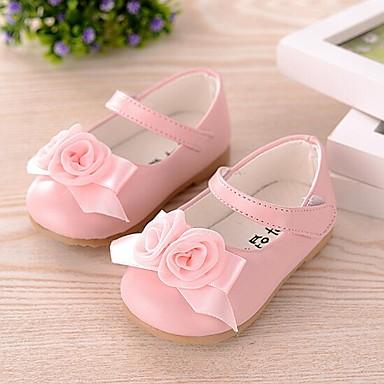 Genç Kız Ayakkabı Yapay Deri İlkbahar yaz Rahat / Geniş Bantlı / İlk Adım Düz Ayakkabılar Fiyonk için Beyaz / Pembe