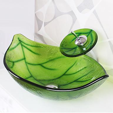 Moderne Rektangulær Vaskmateriale er Herdet Glass Baderomsvask Baderomskran Baderom Monteringsring Baderom Vannavløp