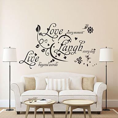 duvar çıkartmaları duvar çıkartmaları tarzı aşk gülmek canlı ingilizce kelime& pvc duvar çıkartmaları tırnak