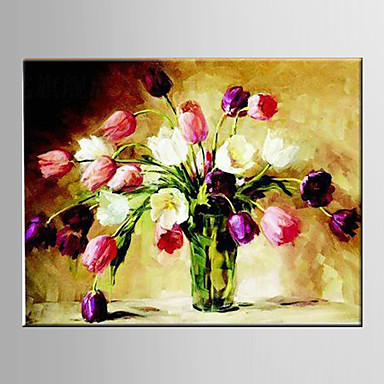 Hand-Painted Floral/Botanical Horizontal, Modern European Style Canvas Oil Painting Home Decoration One Panel