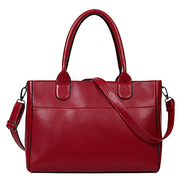Women Bags PU Shoulder Bag Tote for Shopping Casual Formal Office & Career All Seasons Black Fuchsia Blue Wine