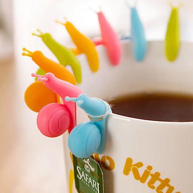 10 stk sett snegelformet tepose holder tegneserie silikon hengende te kopp verktøy hengere tilfeldig farge
