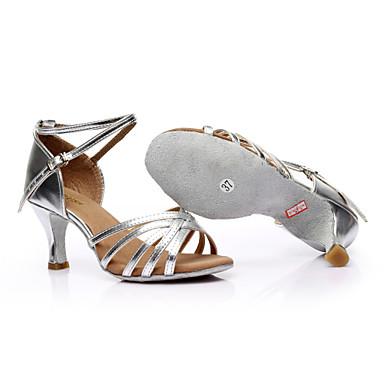 baratos Sapatos de Salsa-Mulheres Sapatos de Dança Pele PU / Cetim Sapatos de Dança Latina / Sapatos de Salsa Presilha Sandália Salto Personalizado Personalizável Leopardo / Transparente / Preto / Couro / EU40