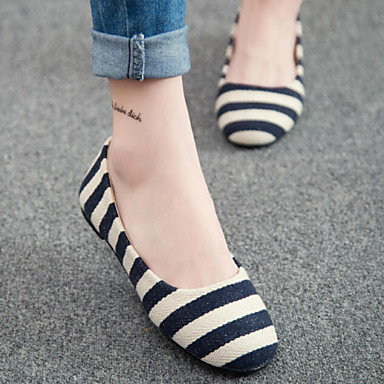 Women's Shoes Spring New Flat Heel Round Toe Comfort Stripe Flats Casual Black/Blue/Red
