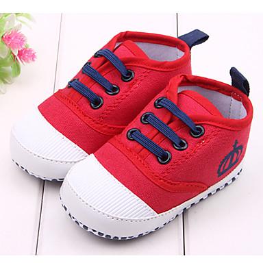 Fiú Lány Baba Lapos Első cipő Szövet Tavasz Ősz Hétköznapi Ruha Első cipő Fehér Piros