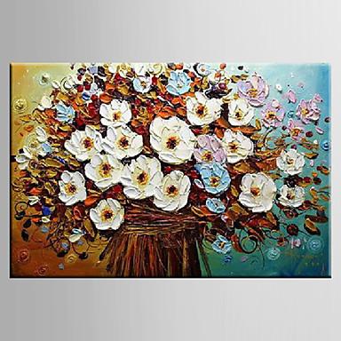 Maalattu Maisema / Asetelma / Kukkakuvio/KasvitiedeModerni 1 paneeli Kanvas Hang-Painted öljymaalaus For Kodinsisustus