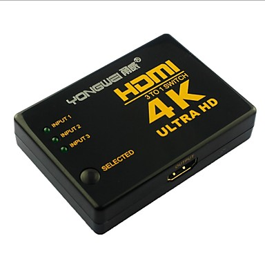 yong wei® 4 port 3-i-1-out 4k × 2k ultra hd hdmi v1.4 3d switcher