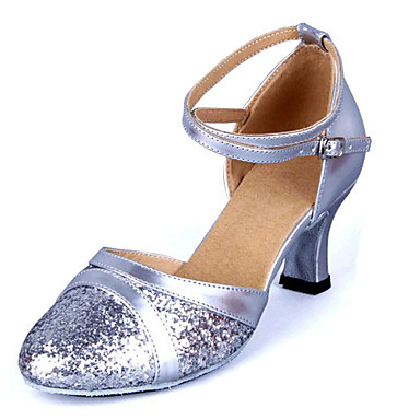 Women's Dance Shoes Modern Leatherette Chunky Heel Black/Blue/Pink/Red/Silver/Gold