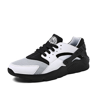 Men's Shoes Tulle Fabric Spring Fall Lace-up for Athletic White Black