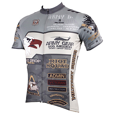 ILPALADINO Men's Short Sleeves Cycling Jersey - Grey Cartoon Animal Bike Jersey, Quick Dry, Ultraviolet Resistant, Breathable