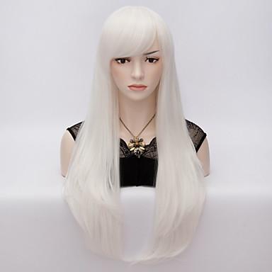 Syntetiske parykker / Kostymeparykker Rett Syntetisk hår Parykk Dame Veldig lang Lokkløs Hvit