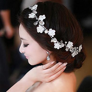 Chiffon Imitert Perle Blonde pannebånd blomster Hodetkjede kranser 1 Bryllup Spesiell Leilighet Avslappet utendørs Hodeplagg