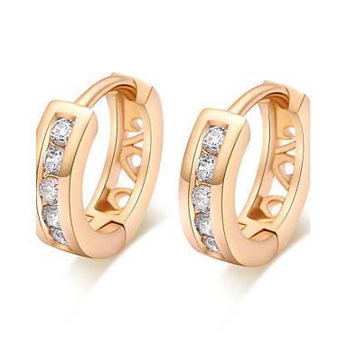 BIN BIN Women's Fashion Hollow Out 18K Gold Plated White Zirconium Earrings
