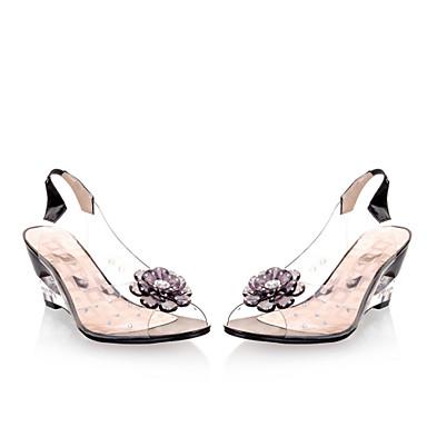 billige Damesko-Dame Wedge-sandaler Gennemsigtig Heel / Kile Hæl Perle Kunstlæder Forår / Sommer Gul / Rød / Blå / EU41