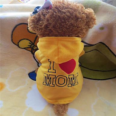 Cachorro Camisola com Capuz Roupas para Cães Carta e Número Amarelo Rosa Lã Polar Ocasiões Especiais Para animais de estimação Clássico