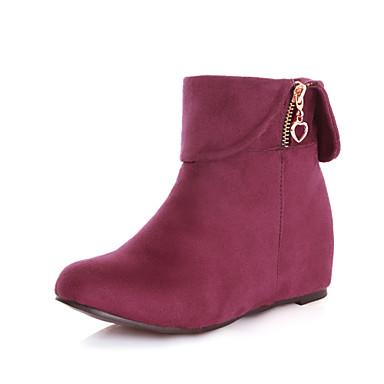 Γυναικείο Παπούτσια Φλις Φθινόπωρο Χειμώνας Τακούνι Σφήνα Μποτίνια Φερμουάρ Για Φόρεμα Μαύρο Καφέ Μπλε Μπορντώ