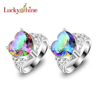 Men's Women's Statement Ring Red Blue Silver Topaz Classic Love Fashion Party Costume Jewelry