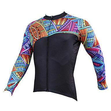 ILPALADINO Men's Long Sleeve Cycling Jersey - Black Bike Jersey, Quick Dry, Ultraviolet Resistant, Breathable Polyester