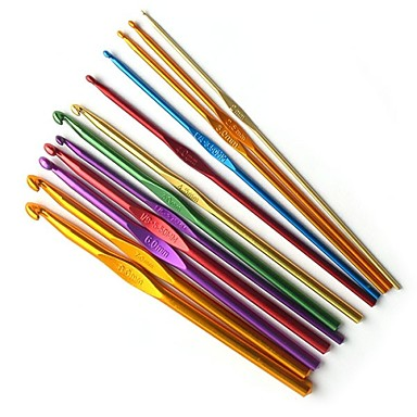 12 kpl värillinen alumiini virkkuukoukut neulominen 2mm-8mm