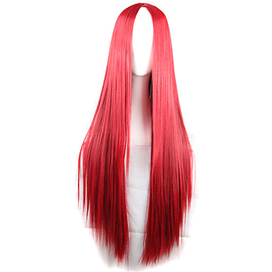 Synthetic Wig Straight Asymmetrical Haircut Synthetic Hair Natural Hairline Red Wig Women's Long Capless