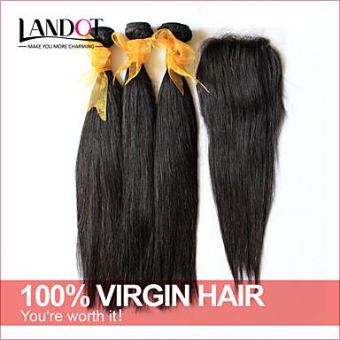 6а необработанный Малайзии девственной волосы прямые с застежкой 3 пучков с закрытием 4 * 4 кружева человеческих волос ткать с закрытием