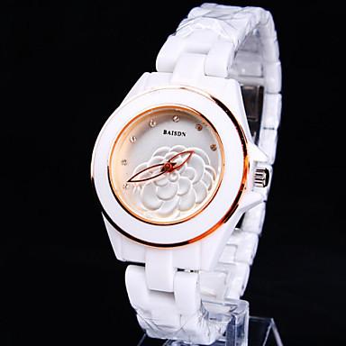 아가씨들 드레스 시계 패션 시계 석영 세라믹 로즈 골드 도금 밴드 스파클 꽃패턴 화이트