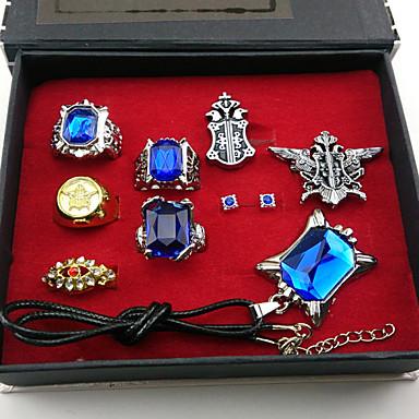 תכשיטים קיבל השראה מ Black Butler Ciel Phantomhive אנימה אביזרי קוספליי טבעות עגיל שרף Chrome