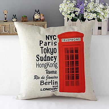 Лондон телефонной будки с рисунком хлопок / лен декоративная подушка крышка