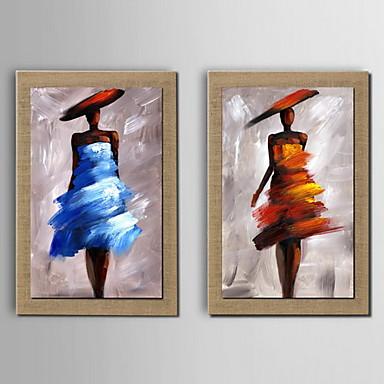öljymaalaus koriste abstrakti hahmo käsin maalattu pellavalle venytetty kehystetty - 2 kpl