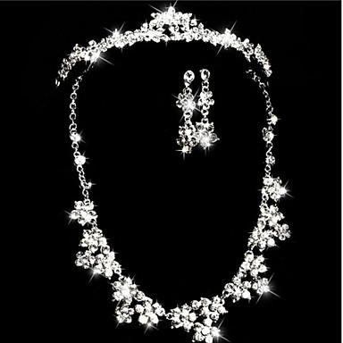 Takı Seti Gelin Arkilik Yapay Elmas imitasyon Pırlanta Crown Shape Kolyeler Kolczyki Için Düğün Parti 1set Düğün Hediyeleri