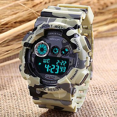 SANDA Herrn Sportuhr / Armbanduhr / Digitaluhr Alarm / Kalender / Chronograph Caucho Band camuflaje Rot / Grün / Grau / LCD