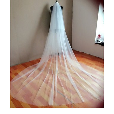 Two-tier Cut Edge Wedding Veil Cathedral Veils 53 Tulle