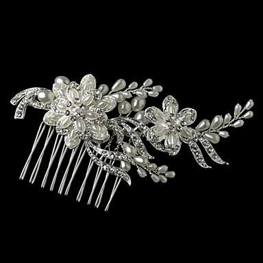 Női Koszorúslányok Ezüst Ötvözet Gyöngyutánzat Sisak-Esküvő Különleges alkalom Fésűk Virágok 1 darab