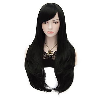 Sentetik Saç peruk Düz Karnaval Peruk Cadılar Bayramı Peruk Çok uzun Siyah