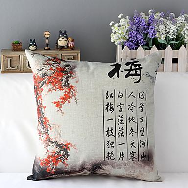 1 szt Cotton / Linen Pokrywa Pillow,Kwiaty Tradycyjny / Classic