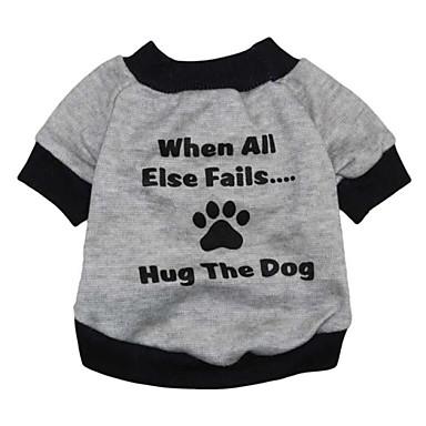Кошка Собака Толстовка Одежда для собак Буквы и цифры Серый Терилен Костюм Для домашних животных Муж. Жен. Очаровательный Мода