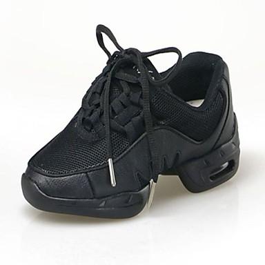 Men's Women's Children's Dance Sneakers Fabric Canvas Flat Indoor Professional Beginner Practice Lace-up Flat Heel Black Under 1