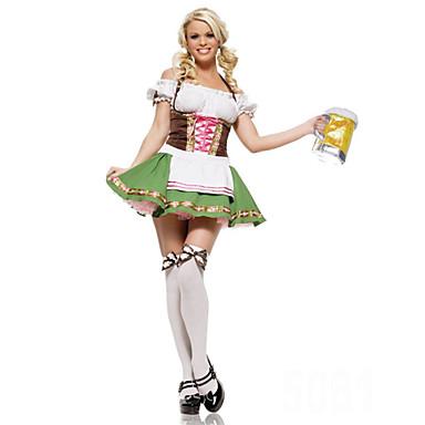 Stuepike Kostumer Oktoberfest Cosplay Kostumer Party-kostyme Dame Halloween Karneval Oktoberfest Festival / høytid Drakter Grønn Lapper