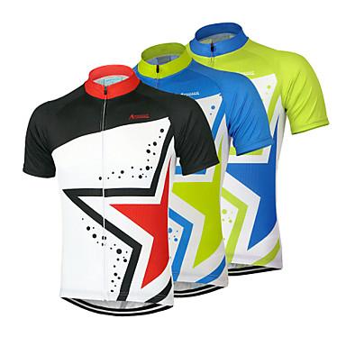 Arsuxeo Ανδρικά Κοντομάνικο Φανέλα ποδηλασίας - Μαύρο / Πράσινο / Μπλε Ποδήλατο Αθλητική μπλούζα, Γρήγορο Στέγνωμα, Ανατομικός