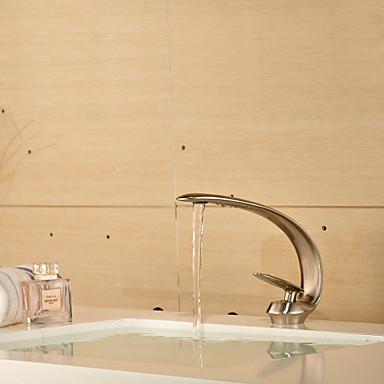 Nykyaikainen Integroitu Keraaminen venttiili Yksi reikä Yksi kahva yksi reikä for  Harjattu nikkeli , Kylpyhuone Sink hana