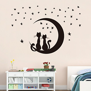 Wall Stickers Wall Decals Style Moon Kitten PVC Wall Stickers